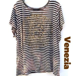 Lane Bryant Venezia Plus Size 26/28W Striped Tee